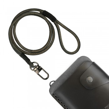 Black leather lace wallet chain