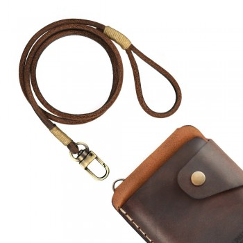 Brown lace leather wallet chain