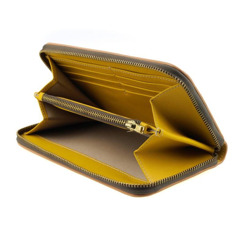 Yellow zip wallet for women