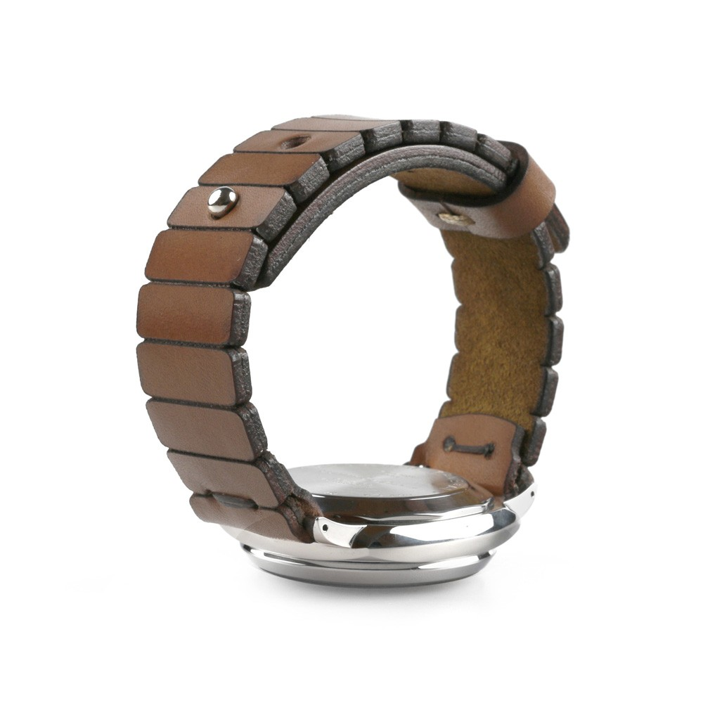 Stud button brown watch strap