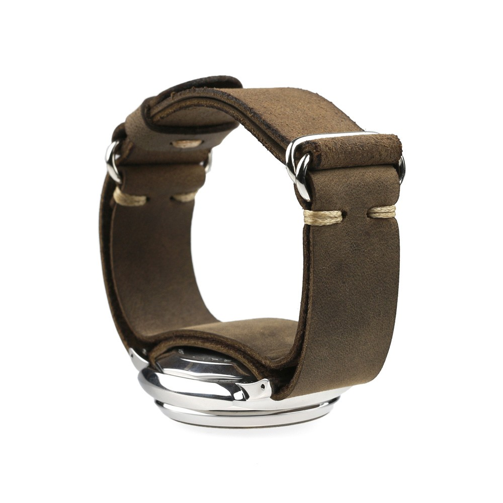 Double ring watch strap in brown