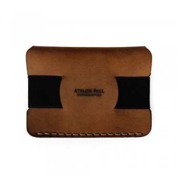 Elastic strap wallet in brown