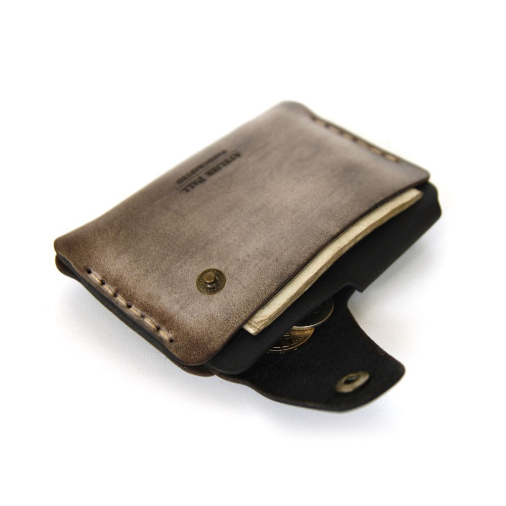 Side Snap Wallet in Waxed Brown