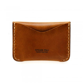 Flap Leather Wallet in Chestnut Brown