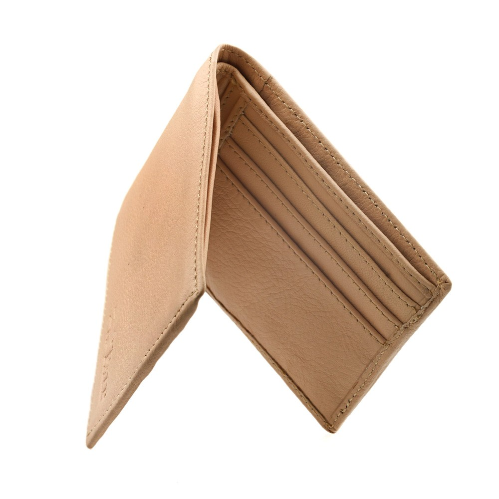Bi-fold wallet in beige