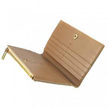 Card holder in beige leather