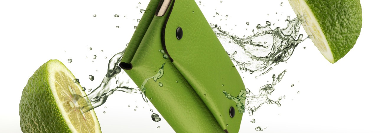 Women Long Wallet in lime green